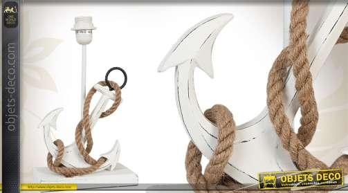 Pied de lampe réalisé en bois et prenant la forme d'une ancre, avec cordage, patine blanche finition vintage.