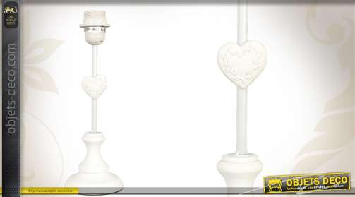 Pied de lampe réalisé en bois, motif coeur, coloris blanc.