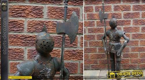 Armure décorative de style médiéval avec lance de 89 cm