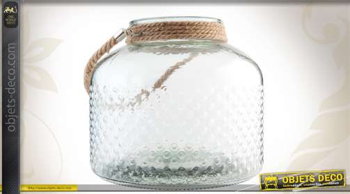 Photophore en verre en forme de bocal, motifs bulles et poignée en corde.