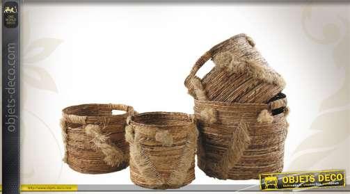 Série de 4 cache-pots réalisés en fibres de bananier, avec franges décoratives.