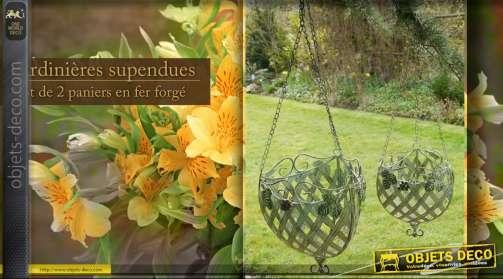 Lot de 2 jardinières avec chaînes de suspension