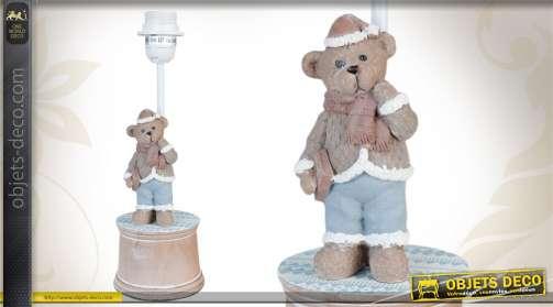 Lampe de chevet réalisée en bois, avec figurine d'ourson.