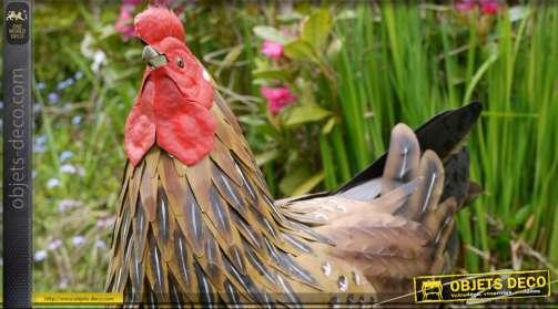 Poule déco en métal peint : 45 cm x 40 cm