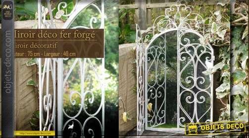Miroir déco avec portes en fer forgé blanc