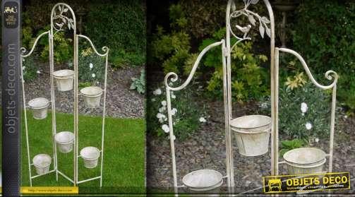 Jardinière verticale 3 volets 6 pots blanc antique