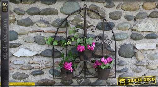 Jardinière murale en fer forgé - 3 pots