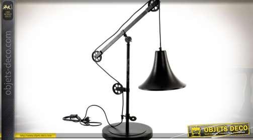 Grande lampe de bureau à poulie de style industriel et rétro en métal brun effet vieilli