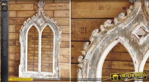 Miroir décoratif en bois de style rustique et gothique avec finition vieillie 116 cm