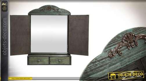 Miroir en bois avec tiroirs et tablette de 89 cm de hauteur totale