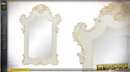 Grand miroir de style classique blanc et patine doré de 107cm