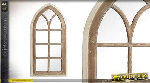 Grande fausse fenetre miroir en bois patiné blanc et chêne clair de 135cm
