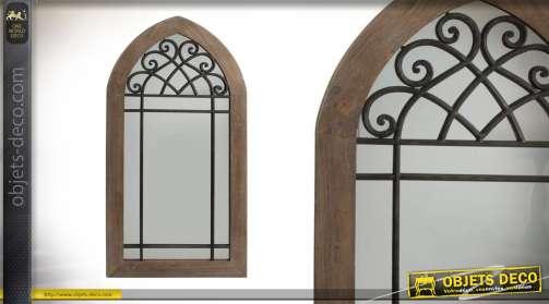 Grand miroir fausse fenetre en bois métal et verre de 137cm style vintage rustique