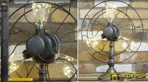 Lampe de style industriel en forme de ventilateur ancien avec 3 ampoules LED
