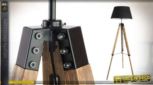Lampadaire de 153cm trépied avec fixations en métal abat jour en tissus