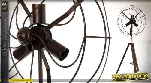 Lampadaire style ventilateur sur pied en bois et métal 3 ampoules