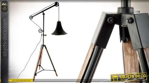 Lampadaire cloche en métal ave système de fausses poulies apparent 1 ampoule 178cm