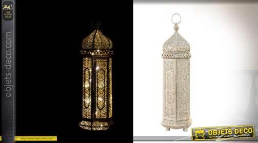 Lanterne à LED en métal blanc et vieux doré 53cm à poser ou suspendre