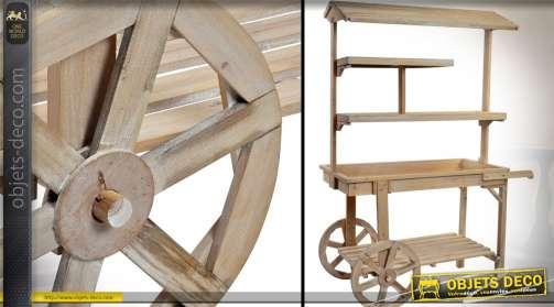 Charrette présentoir de boutique en bois vieilli, avec roues.