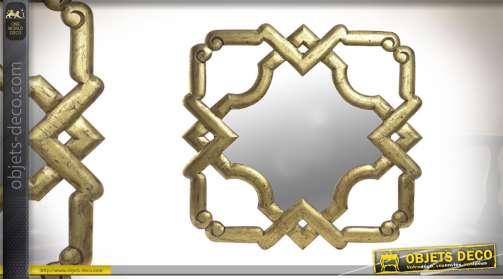 Miroir carré en bois finitions dorées en bois 75cm