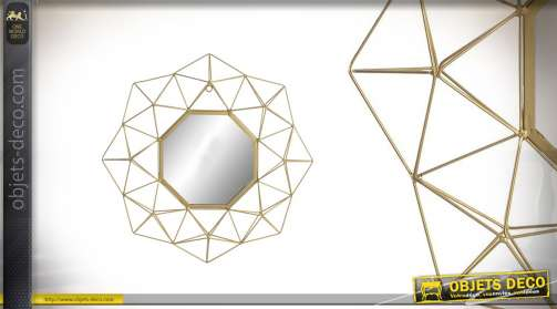Miroir de déco mural en métal filaments droits dorés 60cm de diam