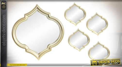 Série de 4 petits miroirs et un grand central de 50 x 55cm