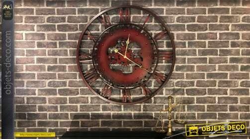 Grande horloge murale en métal, de style rétro et industriel avec partie centrale en forme d'engrenages et extérieur effet cadran en fer forgé à chiff