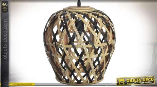 Suspension de style scandinave en bambou naturel et bambou teinté noir Ø 28 cm