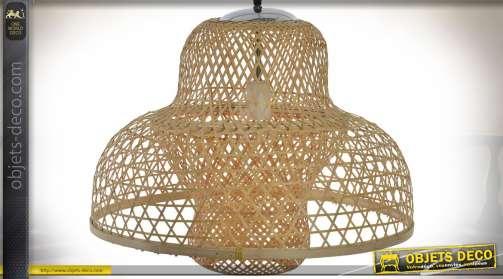 Suspension esprit vintage en bambou naturel