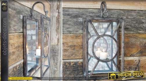 Lanterne murale suspendue de forme rectangulaire aspect rétro en métal avec support porte-bougie