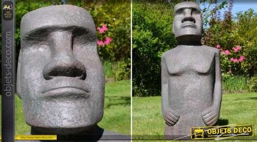 Sculpture statue de l'île de Pâques en matériau compositte imitation pierre de lave