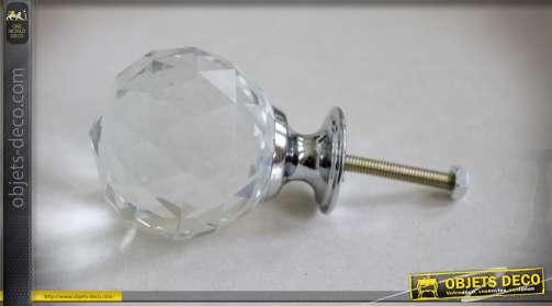 Lot de 6 boutons de portes ou tiroirs en verre avec support métal argenté, forme poire multifacettée translucide