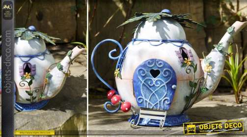 Personnage / objet décoratif pour l'intérieur ou l'extérieur, en métal, grande théière ornementée style bd et univers féérique
