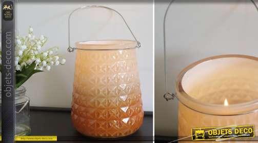 Ensemble de 3 grands bougeoirs en forme de vase en verre taillé coloris crèmet et café