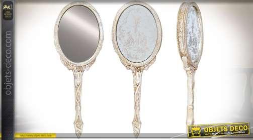 Miroir à main en résine finition vieil argent de style rétro et de forme ovale