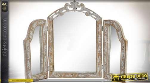 Miroir triptyque pour table coiffeuse, finition effet vieilli brocante brois naturel ancien