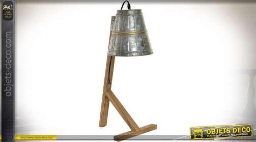Lampe d'atelier ou de bureau en bois et métal aspect zinc ancien vieilli