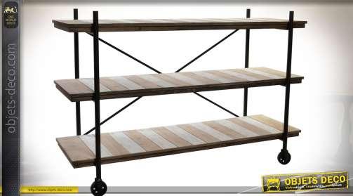 Meuble TV original en forme d'échafaudage à trois niveaux en bois et métal style indus effet vieilli