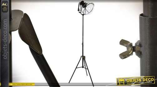 Lampadaire sphère en métal style rétro et industriel ajustable en hauteur