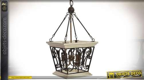 Grande lanterne suspendue en bois et métal de style rétro brocante avec bloc d'éclairage à 4 feux