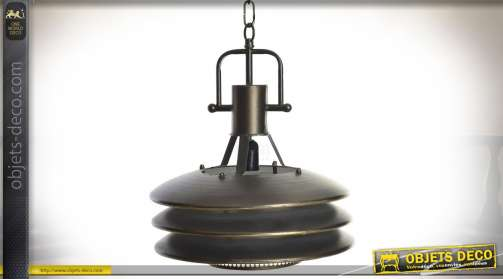 Suspension de style industriel et rétro en métal doré et vieilli avec réflecteur en 3 disques superposés
