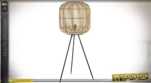 Lampadaire sur trépied en forme de grande cage à oiseaux ovale en lames de bambou