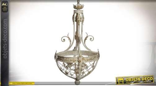 Suspension lustre en métal de style ancien avec finition crème effet vieilli, bloc 3 points de lumière