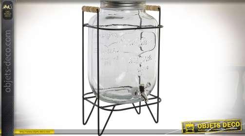 Distributeur d'eau ou de boissons, en verre, sur support en métal noir, style rétro.