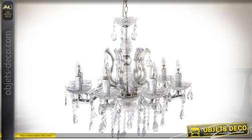 Lustre chic en verre et métal style romantique et Renaissance avec 8 feux de lumière