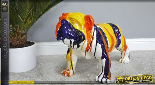 Grand bouledogue anglais en réssine finition multicolore design