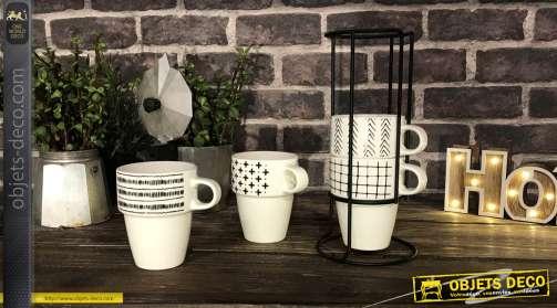 Ensemble de 4 tasses avec motifs boho en noir et blanc, tasses en porcelaine, 300 ml