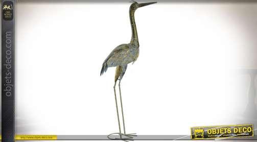 Grand héron en métal pour décoration d'intérieur ou d'extérieur, patine dorée et bleu gris vieilli