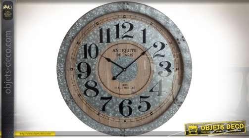 Horloge murale en bois vieilli et métal finition zinc ancien