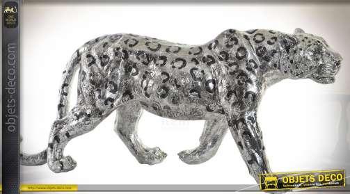 Grand jaguar en résine imitation métal argenté pour décoration d'intérieur